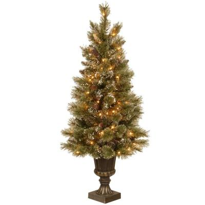 Martha Stewart Living 4.5 ft. Pre-Lit Sparkling Pine Potted Artificial Christmas Tree with Pinecones and Clear Lights