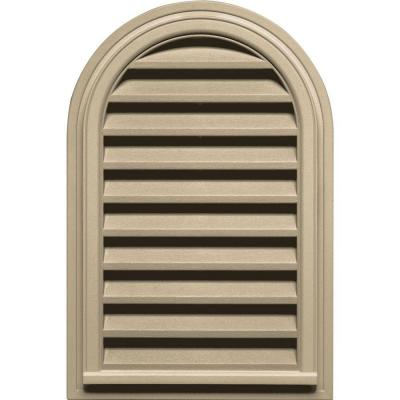 Builders Edge 22 in. x 32 in. Round Top Gable Vent in Light Almond