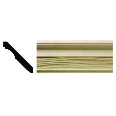1620 1/2 in. x 3-21/32 in. x 6 in. Hardwood White Unfinished Wave Crown Moulding Sample Product Photo