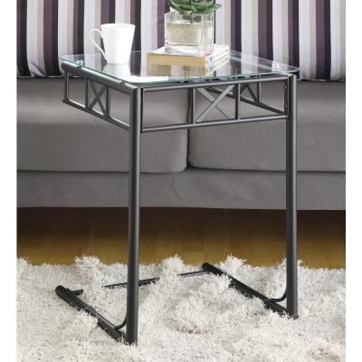 Monarch Specialties Black Metal Glass Top End Table