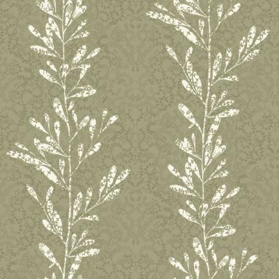 56 sq. ft. White and Metallic Pewter Modern Leaf Stripe with