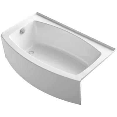 Expanse 5 ft. Left Drain Soaking Tub in White with Bask