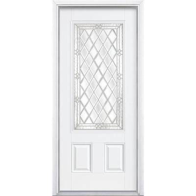 Masonite 36 in. x 80 in. Halifax Three Quarter Rectangle Painted Smooth Fiberglass Prehung Front Door with Brickmold