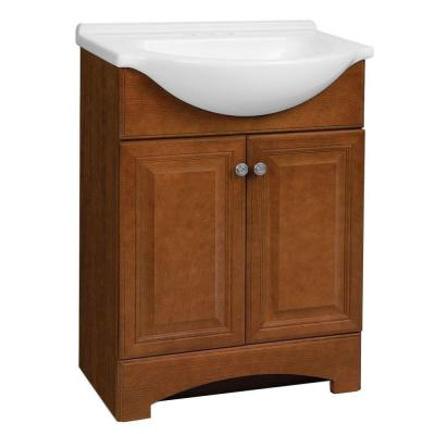 Chelsea 26.5 in. W Vanity in Boubon Cherry with Cultured Marble