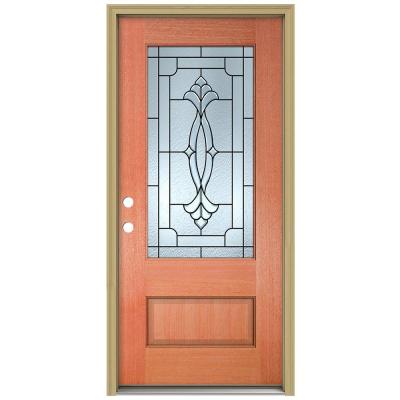 36 in. x 96 in. Champagne 3/4 Lite Unfinished Mahogany Wood Prehung Front Door with Brickmould and Patina Caming Product Photo