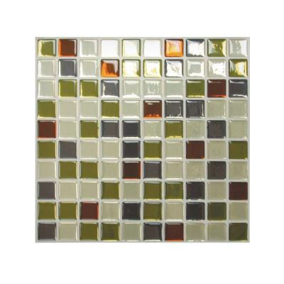 Smart Tiles 9.85 in. x 9.85 in. Mosaic Adhesive Decorative Wall Tile Backsplash Idaho in Grey, Green, Beige and Rust