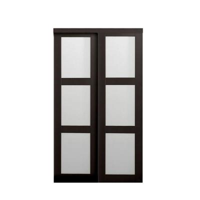 2290 Series Composite Espresso 3-Lite Tempered Frosted Glass Sliding Door