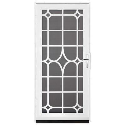 Unique Home Designs 36 in. x 80 in. Lexington White Surface Mount Steel Security Door with Insect Screen and Nickel Hardware