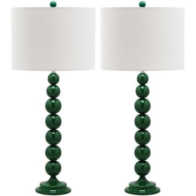 Jenna 31 in. Dark Emerald Green Stacked Ball Lamp (Set of