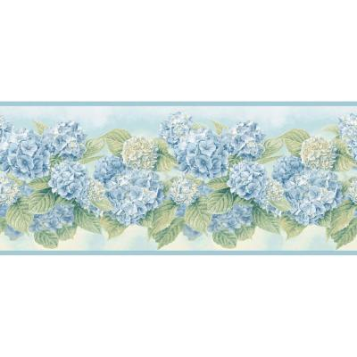 The Wallpaper Company 7.75 in. x 15 ft. Blue Pastel Hydrangea Border
