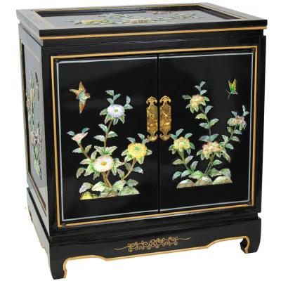 Birds and Flowers Black End Table