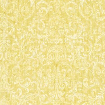 The Wallpaper Company 56 sq. ft. Yellow Scroll Damask Wallpaper-DISCONTINUED
