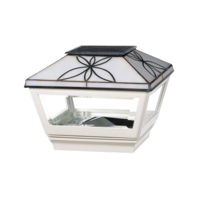 4 in. x 4 in. Vinyl Solar Light Pearl Top Pyramid