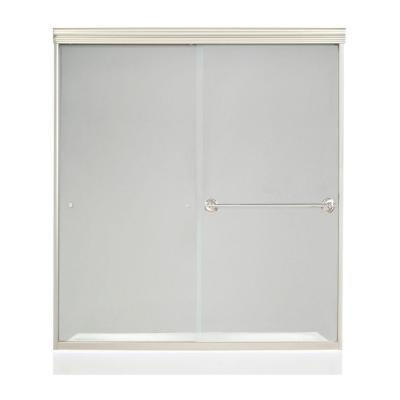 MAAX Noble W: 59-1/2 in. x 71-1/4 in. Frameless Bypass Shower Door in Satin Nickel with 8MM Clear Glass