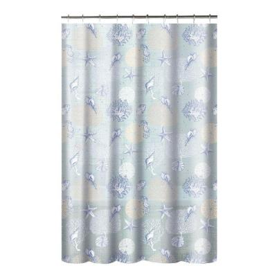 Creative Home Ideas Printed PEVA Coral 70 in. W x 72 in. L Shower Curtain with Metal Roller Hooks in Aqua