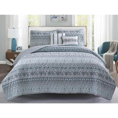Chloe 5-Piece Blue and Grey Floral Quilt Set