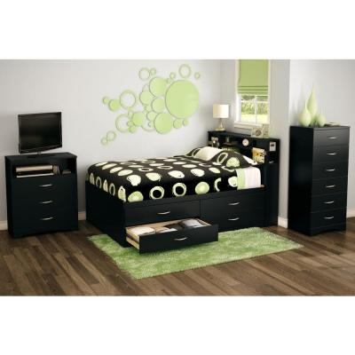 null Step One Full Captain's Bed in Pure Black