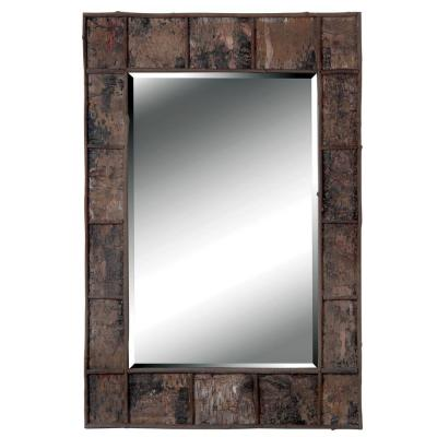 Birch Bark 38 in. x 28 in. Natural Bark Rectangle Framed Wall Mirror Product Photo