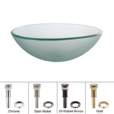 Vessel Sink in Frosted Glass with Pop-Up Drain and Mounting Ring in Oil Rubbed Bronze Product Photo