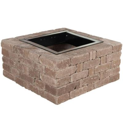 38.5 in. x 17.5 in. Rumblestone Square Fire Pit Kit in Cafe Product Photo