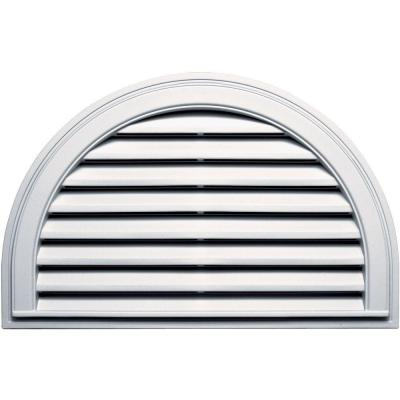 Builders Edge 22 in. x 34 in. Half Round Gable Vent in Bright White