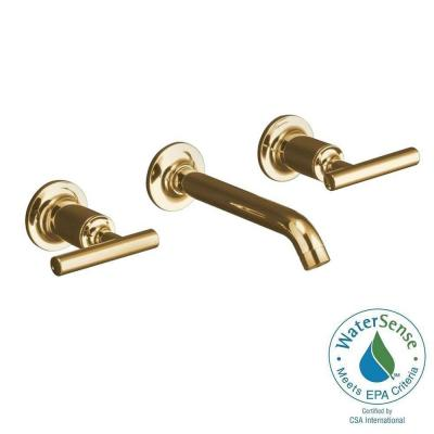 Purist Wall-Mount 2-Handle Water-Saving Bathroom Faucet Trim Kit in Vibrant Modern Polished Gold Product Photo