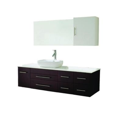 Virtu USA Justine 60 in. W x 22 in. D Vanity in Espresso with Stone Vanity Top in White with White Basin and Mirror