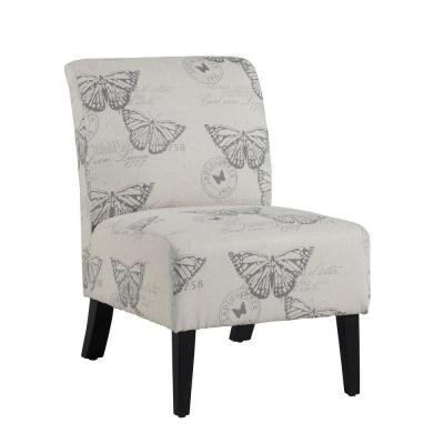 Eucalyptus Wood Local Hardwoods Fabric Linen Butterfly Lily Chair Dark Espresso Product Photo