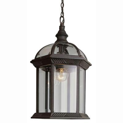 Bel Air Lighting Atrium 1-Light Outdoor Hanging Rust Lantern with Clear Glass