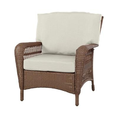 Martha Stewart Living Charlottetown Brown All-Weather Wicker Patio Lounge Chair with Custom Cushion