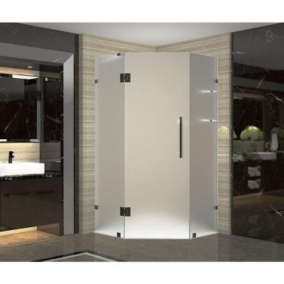 Neoscape GS 36 in x 36 in x 72 in Frameless Neo-Angle Shower with Frosted Glass and Shelves in Oil Rubbed Bronze Product Photo