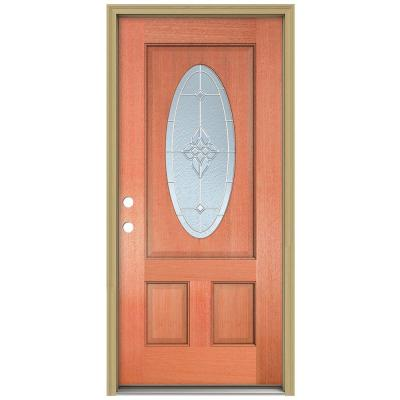 36 in. x 80 in. Rosemont 3/4 Oval Lite Unfinished Mahogany Wood Prehung Front Door with Brickmould and Zinc Caming Product Photo