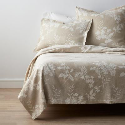Botanical Floral Textured Cotton Blend Coverlet