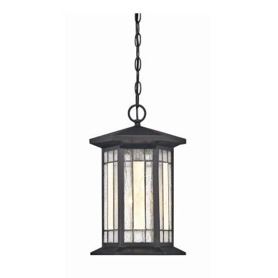 Hampton Bay Woodbridge Collection 1-Light Outdoor Large Black Faux Tiffany Pendant-DISCONTINUED