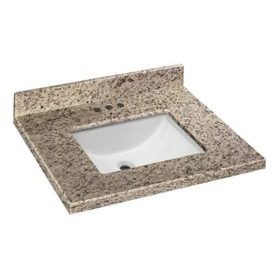 Home Decorators Collection 25 in. W x 22 in. D Granite Vanity Top in Giallo Ornamental with White Single Trough Basin