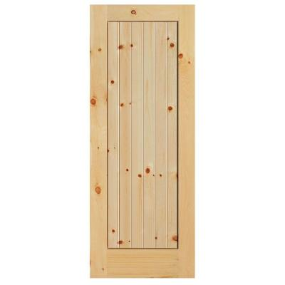 Masonite 36 in x 84 in knotty pine 1 panel shaker v for Solid wood interior barn door