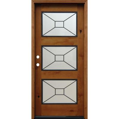 36 in. x 80 in. Contemporary 3 Lite Mistlite Stained Knotty Alder Wood Prehung Front Door with Grille and 6 in. Wall Product Photo