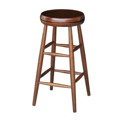 International Concepts Scooped Seat 30 in. Espresso Swivel Bar Stool