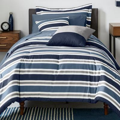 Weston Striped Bed in a Bag Comforter Set with Sheets and Decorative Pillows