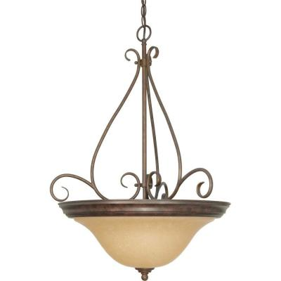Adria 3-Light Bronze Pendant with Champagne Linen Washed Glass