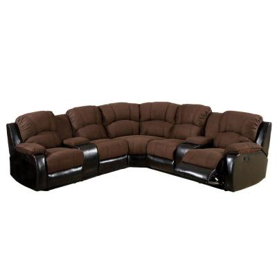 Wolcott Elephant Skin Microfiber Sectional in Brown Product Photo