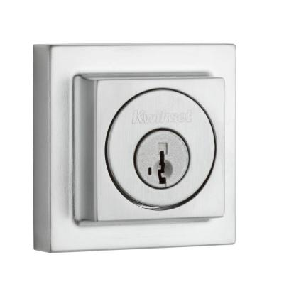 Kwikset 993 Series Square Contemporary Single Cylinder Satin Chrome Deadbolt Featuring SmartKey