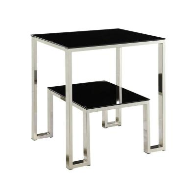 Eastdale Chrome and Glass Side Table in Black Product Photo