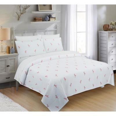 Flamingo Graphic 380-Thread Count Cotton Coverlet