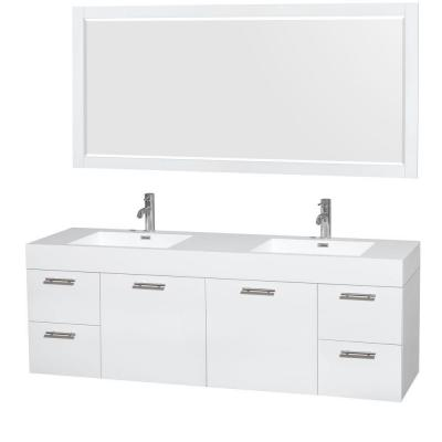 Amare 72 in. Double Vanity in Glossy White with Acrylic-Resin Vanity