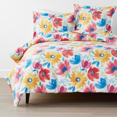 Company Cotton Blossom Multicolored Floral Cotton Percale Duvet Cover