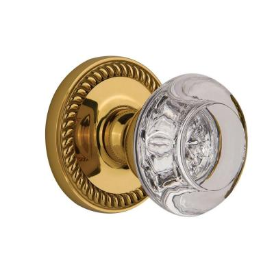 Grandeur Polished Brass Privacy Newport with Bordeaux Crystal Knob