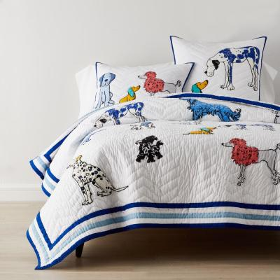 Dog Talk Handcrafted Multicolored Graphic Cotton Quilt