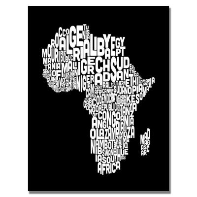 22 in. x 32 in. Africa Font World Map Canvas Art