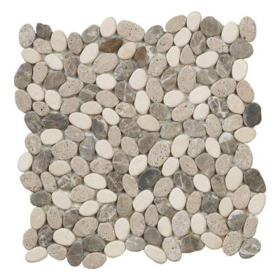 Emperador River Rocks 12 in. x 12 in. x 8 mm Marble Mosaic Floor/Wall Tile Product Photo